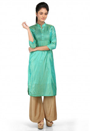 Solid Color Art Silk Straight Kurta Set in Turquoise