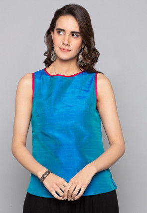 Solid Color Art Silk Top in Blue