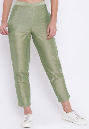 Solid Color Art Silk Trouser in Light Olive Green