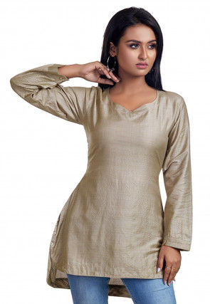 Solid Color Art Silk Tunic in Light Fawn