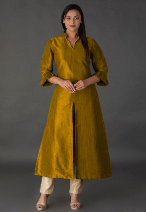 Solid Color Bhagalpuri Silk Kurta in Old Gold