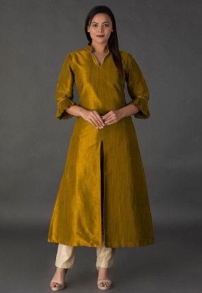 Solid Color Bhagalpuri Silk Kurta in Old Gold