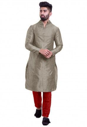 Solid Color Bhagalpuri Silk Kurta Set in Grey