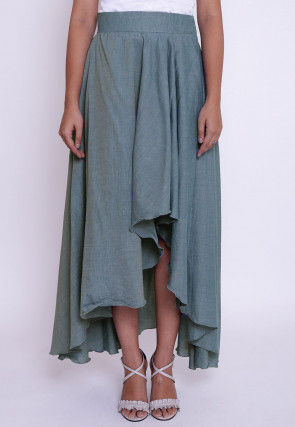 Solid Color Chambrey Cotton Asymmetric Skirt in Light Blue