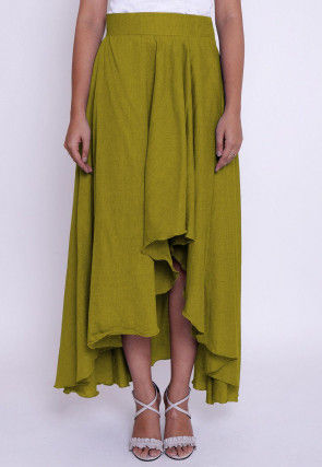 Solid Color Chambrey Cotton Silk Asymmetric Skirt in Olive Green