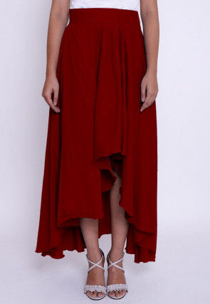 Solid Color Chambrey Cotton Asymmetric Skirt in Red