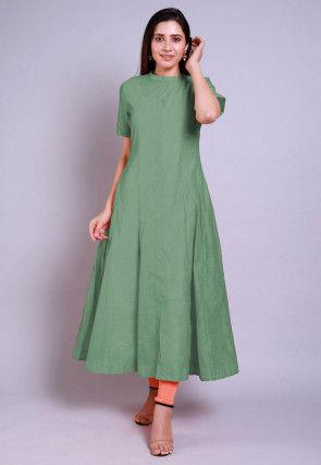 Solid Color Chanderi Cotton Anarkali Kurta in Pastel Green