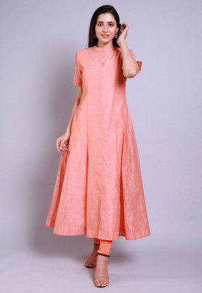 Solid Color Chanderi Cotton Anarkali Kurta Set in Peach