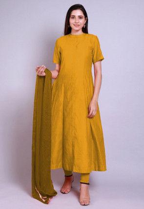 Solid Color Chanderi Cotton Anarkali Suit in Mustard