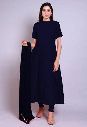 Solid Color Chanderi Cotton Anarkali Suit in Navy Blue