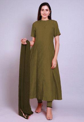 Solid Color Chanderi Cotton Anarkali Suit in Olive Green
