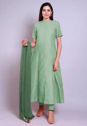Solid Color Chanderi Cotton Anarkali Suit in Pastel Green