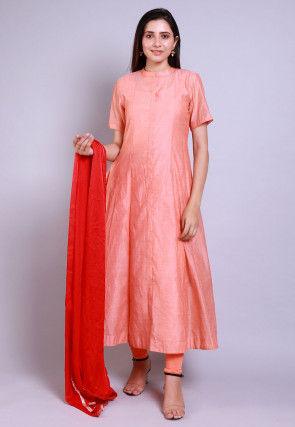 Solid Color Chanderi Cotton Anarkali Suit in Peach