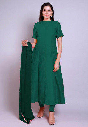 Solid Color Chanderi Cotton Anarkali Suit in Teal Green