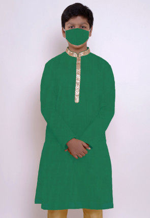 Solid Color Chanderi Cotton Kurta in Green