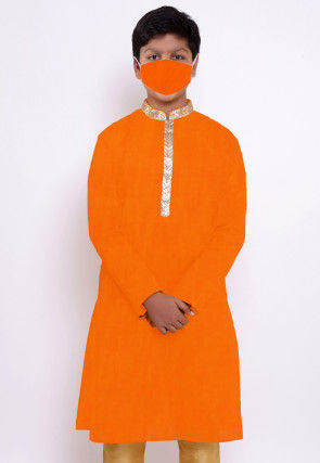 Solid Color Chanderi Cotton Kurta in Orange