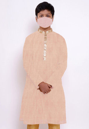 Solid Color Chanderi Cotton Kurta in Peach