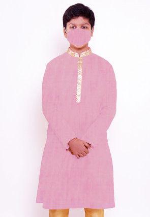 Solid Color Chanderi Cotton Kurta in Pink