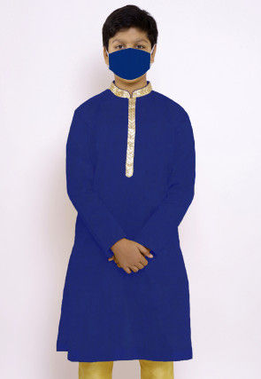 Solid Color Chanderi Cotton Kurta in Royal Blue