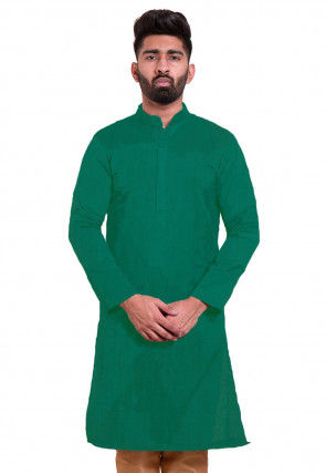 Solid Color Chanderi Cotton Kurta in Teal Green