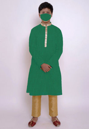 Solid Color Chanderi Cotton Kurta Set in Green