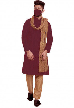 Solid Color Chanderi Cotton Kurta Set in Magenta