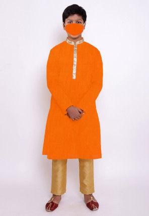 Solid Color Chanderi Cotton Kurta Set in Orange