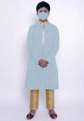 Solid Color Chanderi Cotton Kurta Set in Pastel Blue