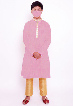 Solid Color Chanderi Cotton Kurta Set in Pink