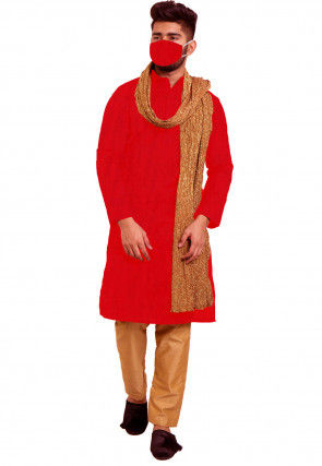 Solid Color Chanderi Cotton Kurta Set in Red