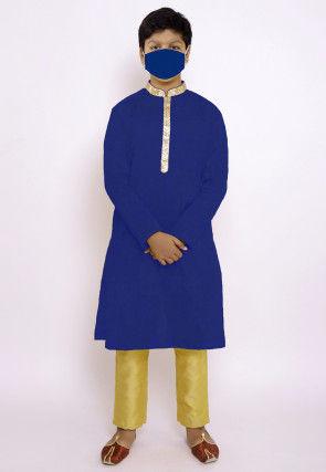 Solid Color Chanderi Cotton Kurta Set in Royal Blue