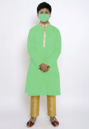 Solid Color Chanderi Cotton Kurta Set in Sea Green