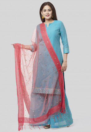 Solid Color Chanderi Cotton Pakistani Suit in Blue