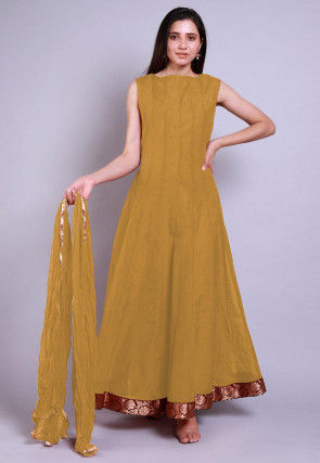 Solid Color Chanderi Silk Abaya Style Suit in Beige