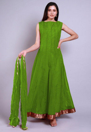 Solid Color Chanderi Silk Abaya Style Suit in Green