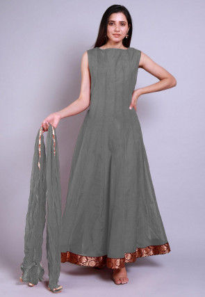 Solid Color Chanderi Silk Abaya Style Suit in Grey