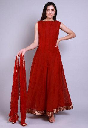 Solid Color Chanderi Silk Abaya Style Suit in Maroon