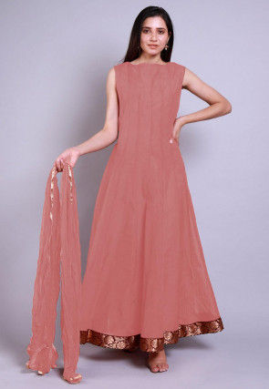 Solid Color Chanderi Silk Abaya Style Suit in Peach