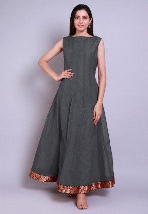 Solid Color Chanderi Silk Anarkali Kurta in Grey