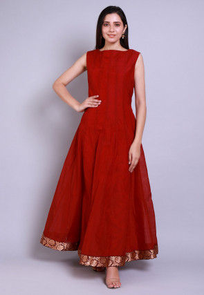 Solid Color Chanderi Silk Anarkali Kurta in Maroon