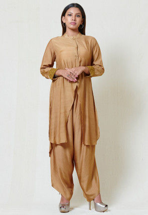 Solid Color Chanderi Silk Asymmetric Kurta Set in Beige