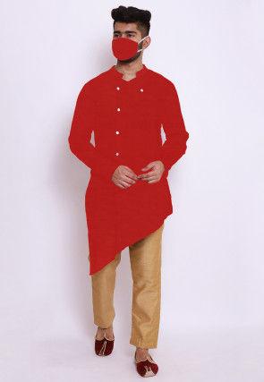 Solid Color Chanderi Silk Asymmetric Kurta Set in Red