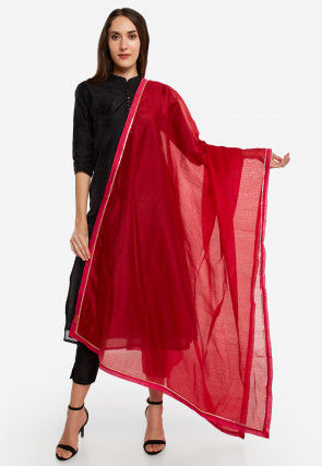 Solid Color Chanderi Silk Dupatta in Red