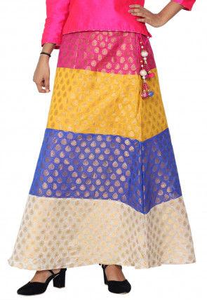 Solid Color Chanderi Silk jacquard Skirt in Multicolor
