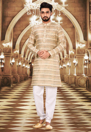 Solid Color Chanderi Silk Kurta Set in Beige