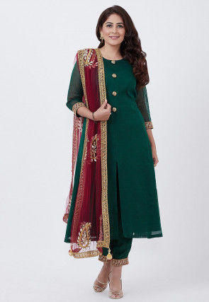 Solid Color Chanderi Silk Pakistani Suit in Dark Green