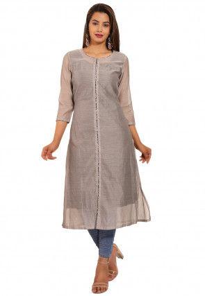 Solid Color Chanderi Silk Straight Kurta in Light Grey