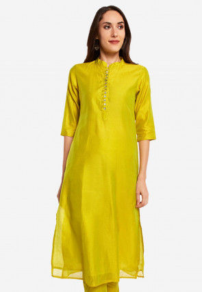Solid Color Chanderi Silk Straight Kurta Set in Light Green