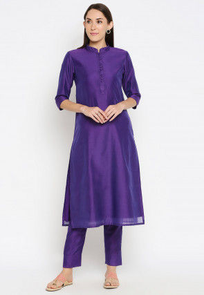 Solid Color Chanderi Silk Straight Kurta Set in Purple