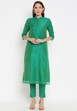 Solid Color Chanderi Silk Straight Kurta Set in Teal Green